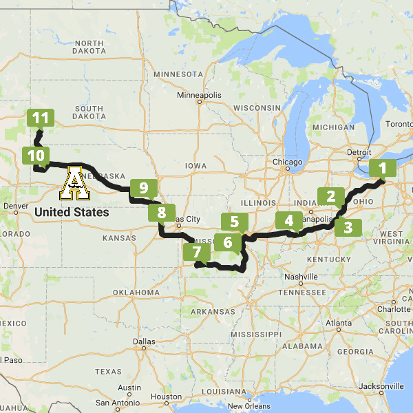 2016 American Solar Challenge Route and Checkpoints