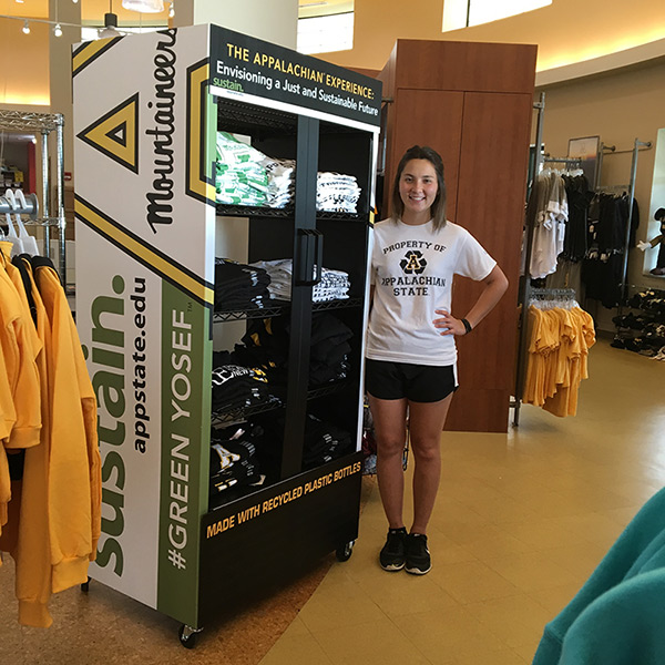 T-shirts made from water bottles, at your Appalachian State University Bookstore now!